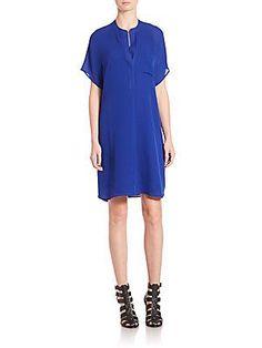 Vince Pocketed Silk Shift Dress - Capri - Size