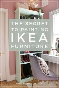 Here's the one thing you need to paint your IKEA or laminate furniture and it may just surprise you! It's one simple inexpensive product in one step to ensure your paint stays put! makeover chalk paint The Secret to Painting IKEA Furniture - Swoon Worthy Painting Ikea Furniture, Ikea Furniture Hacks, Upcycled Furniture, Furniture Projects, Painted Furniture, Home Furniture, Furniture Design, Antique Furniture, Rustic Furniture