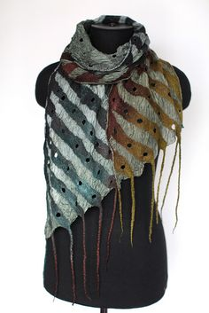 :: Nuno Felted Scarf:: Look at the colors - stripe pattern - diagonal ends - fringe. Well done!