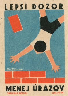 "Vintage #matchbox Label Translation: Better watch out, reduce accidents"" To Order your business' own branded #matchoxes or #matchbooks GoTo: GetMatches.com or CALL 800.605.7331 TODAY!"