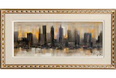 Oil on canvas cityscape by artist Ozz Franca. Signed; in wood frame.