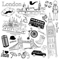 London Doodles Stock Image