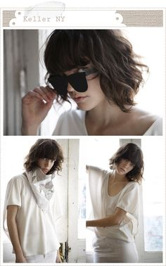 Blunt bangs and short wavy hair- if only I could get my hair to look this cute if I cut it off!