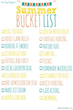 Cheap and Unique Summer Bucket List. GREAT FIND! So psyched about this! We're paying off debt ($20k gone int he last year alone!) and were looking for fun things to do as a family this summer since we cancelled our (expensive!) summer vacation. This summer bucket list is perfect. Mounted in on our command center and we're ready to roll! Bring on SUMMER!