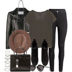 A fashion look from January 2017 featuring short sleeve tee, genuine leather jackets and skinny jeans. Browse and shop related looks. H M Outfits, Fall Outfits, Casual Outfits, Fashion Outfits, Fashion Weeks, Leather Jacket Outfits, Leather Jackets, Looks Style, My Style