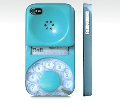 aqua iPhone case, case for iPhone 4, iPhone 4s, blue telephone, protection, vintage dial phone, iPhone cover, mid century, rotary phone case