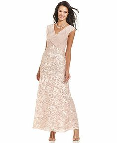 Patra Cap-Sleeve Embroidered Lace Gown - Mother of the Bride Dresses - Women - Macy's I like this one but the color isn't great.