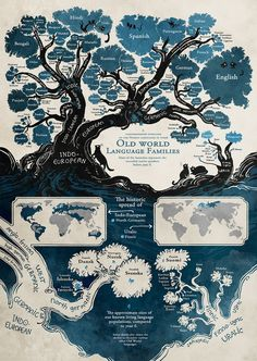 I like this map infographic because it uses a variety of maps to display information. There is the literal tree map that shows the different language families. Then the maps that show their geographic location. European Languages, World Languages, Foreign Languages, Learn Languages, Web Comic, Comic Artist, World History, Fun Facts, Crazy Facts