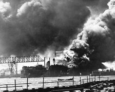 . In this image provided by the U.S. Navy, general view of the burning and damaged ships of Pearl Harbor in Hawaii, during the Japanese aerial attack on Dec. 7, 1941. (AP Photo/U.S. Navy)