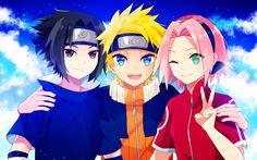 Herunterladen hintergrundbild sasuke uchiha, naruto uzumaki, sakura haruno, 4k, mangas, naruto