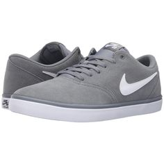 Nike SB Check Solar (Cool Grey/White) Men's Skate Shoes ($70) ❤ liked on Polyvore featuring men's fashion, men's shoes, men's sneakers, mens skate shoes, mens grey shoes, mens shoes, mens grey sneakers and mens white shoes