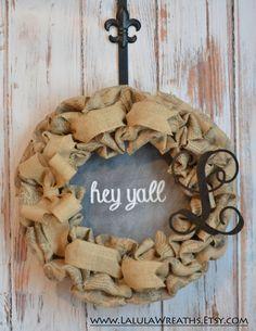 Burlap Monogram Chalkboard Wreath – Post Card, Chalkboard, Front Door Decoration, Door Wreath, Summer Wreath, Burlap Wreath, Initial Wreath