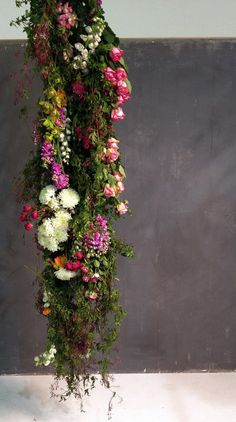 hanging florals by the flower drum