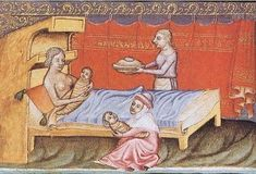 """519 Likes, 10 Comments - @breastfeedingart on Instagram: """"Birthscene from the Wenzel Bible, 14th century. Anonymous artist. #breastfeedingart #breastfeeding…"""""""