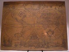 #antique RARE Vintage Bronze or Brass World Map Hand Made in England please retweet