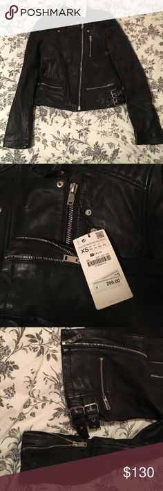 Zara basic leather jacket. new with tag New with tag! Wish that it fit me but it is too small!! Zara Jackets & Coats