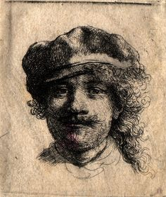 Rembrandt – Self Portrait Wearing a Soft Cap: Full Face, Head only, ca. 1634