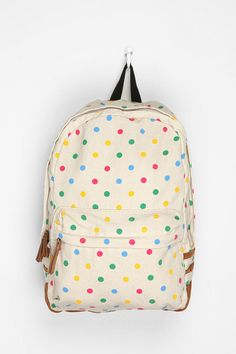 "Carrot Polka Dot Backpack  #UrbanOutfitters Dimension: 10""width, 3""Deep, 15.5""Height"