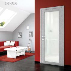 Drzwi wewnętrzne Umberto Cobeli model DPS- 8855. Drzwi są pokryte wysokopołyskową, odporną na zarysowania folią akrylową, a wypełnienie szklane zostało wykonane ze szkła hartowanego.