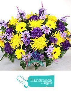 Gorgeous Spring Flower Mixture Cemetery Saddle Arrangemnt from Crazyboutdeco Deco Mesh Wreaths and Cemetery Arrangements https://www.amazon.com/dp/B01NCVBCQJ/ref=hnd_sw_r_pi_dp_7k4Hyb5RH65AS #handmadeatamazon