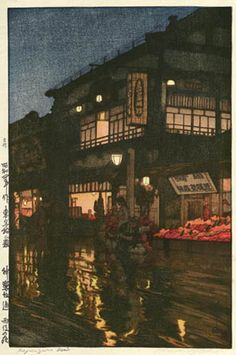 Kagurazaka Dori  by Hiroshi Yoshida, 1929