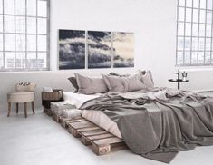Dein Schlafzimmer im Loft-/Industrial-Stil: Ein Bett aus Paletten kombiniert mit. Your bedroom in a loft / industrial style: a bed made of pallets combined with cool metal, glass and subtle shades o Loft Estilo Industrial, Industrial Style Bedroom, Industrial House, Industrial Bookshelf, Industrial Apartment, Industrial Farmhouse, Bedroom Loft, Bedroom Decor, Bed Made From Pallets
