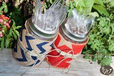 Rustic Mason Jar Utensil Holders