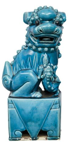 1stdibs - Chinese Pair Turquoise Foo Dogs