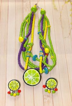 Lime Fruit Beaded Necklace With Matching Lime Pierced Earrings Gift | Jewelry & Watches, Fashion Jewelry, Jewelry Sets | eBay!
