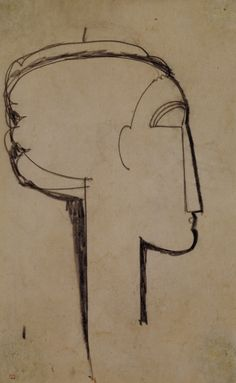 Amadeo Modigliani ~ Head in Profile (charcoal on paper)                                                                                                                                                      Más