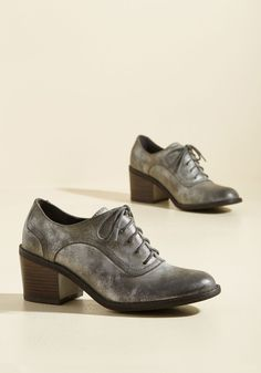 Scholar If You Need Me Vegan Heel in Sterling by BC Footwear - Silver, Solid, Party, Work, Graduation, Menswear Inspired, Minimal, Winter, Mid, Better, Lace Up, Chunky heel, Variation, Pewter, Metallic