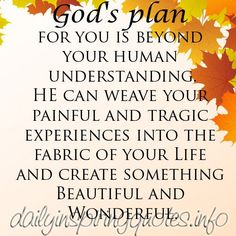 God's Plan for you.