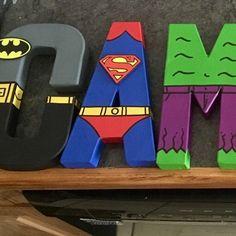 Superhero Letters, Superhero Names, Superhero Room, Superhero Party, Letters For Kids, Diy Letters, Painted Letters, Hand Painted, Decorate Letters