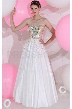 Fancy White Sweetheart Floor-length Sleeveless Prom Dresses - Evening Dresses - Special Occasion Dresses - Dresshop.com.au