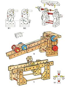 Matador construction toys, STEM. Matador is a construction set with wooden blocks that get connected through wooden pins. The blocks have holes to fit the pins.