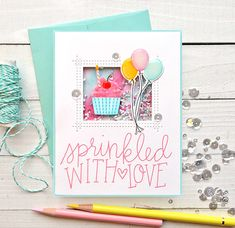 """""""One Stamp, Four Ways"""" Using MFT Sweet Shop by Stacey Yacula #MFT #Shop #stacey #stamp #sweet #using #Ways #yacula Love Stamps, Mft Stamps, Diy Birthday, Birthday Cards, Cupcake Birthday, Happy Birthday, 5 Balloons, Cupcake Card, Card Sentiments"""