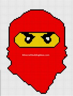Minecraft Pixel Art Templates: Lego ninjago red