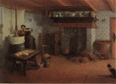 Cheese making in Friesland painting by Ids Wierdsma, 1920