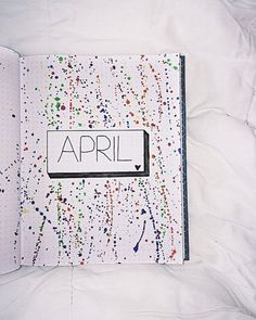 Bullet journal monthly cover page, April cover page,paint splatter background. | @bullet.journal_inspiration
