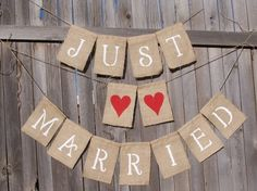 DIY Burlap Signs make with button hearts instead