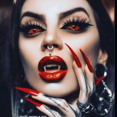 Female Werewolves, Vampires And Werewolves, Vampire Love, Vampire Girls, Incubus Demon, Demon Makeup, Monster Vampire, Beste Gif, Dark Red Wallpaper
