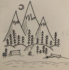 Travel drawing by Imo Lee Tree tent fire bonfire flames fire pit smoke mo – bilderrahmen Sailboat Drawing, Ocean Drawing, Wave Drawing, Moon Drawing, Drawing Art, Drawing Flames, Mountain Drawing Simple, Tree Drawing Simple, Forest Drawing Easy