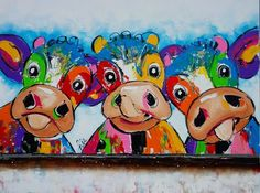 Cow Paintings On Canvas, Happy Paintings, Animal Paintings, Canvas Art, Pintura Graffiti, Cow Pictures, Farm Art, Cow Art, Funky Art