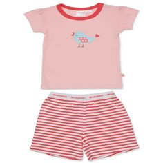 The Marquise Birdypjs. pinktee and stripe shorts. Perfect for Summer night!  Marquise has lovingly provided Australian babies with their first clothes and nursery accessories since 1932.  With dedication Marquise provide comfort and classic quality we look forward to caring for generations to come.  Warm machine wash and do not tumble dry. Kids Pajamas, Pyjamas, Pjs, Stripe Shorts, Nursery Accessories, Baby Wearing, Bodysuit, Rompers, Warm