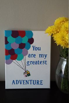 Your place to buy and sell all things handmade You Are My Greatest Adventure Painting by ArtByAnaliese on Etsy Easy Canvas Art, Small Canvas Art, Easy Canvas Painting, Mini Canvas Art, Diy Painting, Trippy Painting, Disney Canvas Paintings, Disney Canvas Art, Cute Paintings