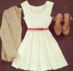 white dress and cardigan