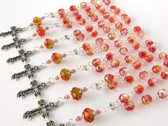 Baptism Favors Set of 10  Orange Mini Rosary  by AngelRosaries