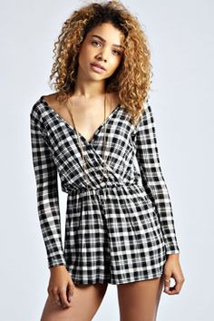 Effie Monochrome Checked Wrap Over Playsuit at boohoo.com