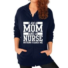 Mom and a nurse Zip Hoodie (on woman)