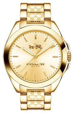 COACH 'Tristen' Logo Etched Bracelet Watch, 36mm (Regular Retail Price: $275.00) available at #Nordstrom